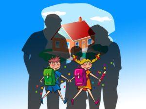 Illustration von zwei Kindern auf dem Weg in die Schule