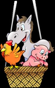 Illustration eines Esels, einer Henne und eines Schweins