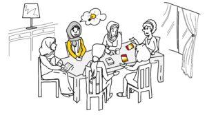 Elternbildung als Erwachsenenbildung: Illustration einer Eltern-Gruppe, die sich austauscht