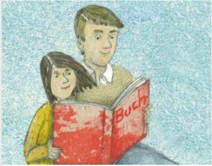 Illustration von einem Vater, der seiner Tochter ein Buch vorliest